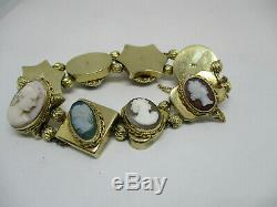 Victorian 14kt Gold Carved Shell Cameo Assorted Charms Slide Bracelet 47 Grams