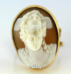 Victorian 15 Karat Gold Brooch with Carnelian Cameo Carving, 1880s