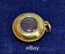 Victorian 15ct GOLD, Carved Sardonyx Star & Diamond HIDDEN LOCKET Backed PENDANT