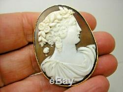 Victorian 15ct Gold Carved Shell Cameo Pendant Brooch Flora Goddess of Spring