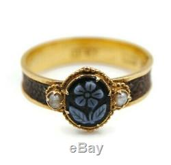 Victorian 15ct Gold Mourning Hair Ring With Carved Sardonyx, size O