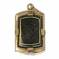 Victorian 1880 Carved Carnelian Hardstone Locket Pendant 14k Rose Gold