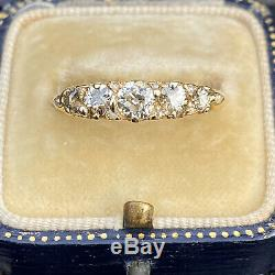 Victorian 18ct, 18k, 750 Gold Old-cut Diamond 1.00ct carved hoop ring, 1900