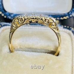 Victorian 18ct, 18k, 750 Gold & Platinum, 5 stone Diamond carved hoop ring, C1890