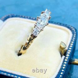 Victorian 18ct, 18k, 750 Gold, old cut Diamond 0.75ct carved hoop ring, C1880