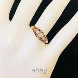 Victorian, 18ct, 18k, 750 Rose Gold Diamond 0.38ct five stone carved hoop ring