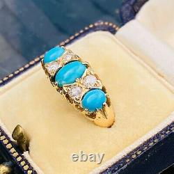 Victorian 18ct, 18k, 750 gold Turquoise & old-cut Diamond carved hoop ring C1895