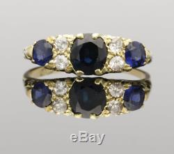 Victorian 18ct Gold Sapphire & Diamond Carved Ring