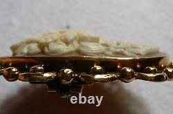 Victorian 18k Gold Beautifully Carved Woman & Ivy, Natural Shell Lg. Cameo Brooch