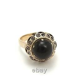 Victorian 18k Gold Black Onyx High Carved Top Mourning Ring sz6