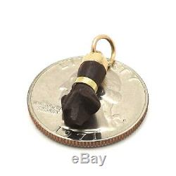 Victorian 18k Gold Carved Wood Lucky Figa Malocchio Hand Charm Pendant