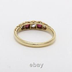 Victorian 18k Gold Ruby July Birthstone Diamond Carved Band Ring sz8