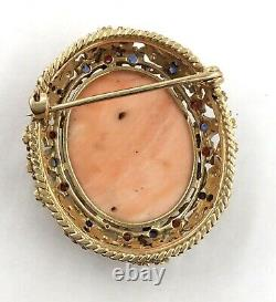 Victorian 18k Yellow Gold Rose Cut Diamond & Gemstone Carved Coral Cameo Pin