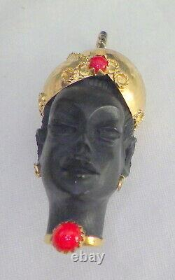 Victorian 18kt Yellow Gold African Female Ebony Carved Pendant W, Red Coral