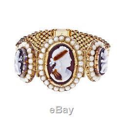 Victorian 1900 Dionysus Hardstone Cameo Carved Bracelet 14k Yellow Gold