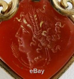 Victorian 19th c gold plated Carnelian Carved Intaglio Pendant with Profile Face