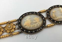 Victorian 21K Yellow Gold Carved Greek God Cherub Angel's Cameo Pearl Bracelet