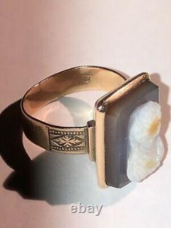 Victorian 9CT 9K Rose Gold Antique Carved Hard Stone Cameo Ring- 4 Grams gold