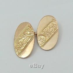 Victorian 9K 9ct Rose Gold Hand Carved Design Cufflinks 6.6gr