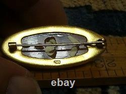 Victorian 9K Gold Carved Amber Scarf Pin Brooch EXCELLENT ESTATE SALE FIND
