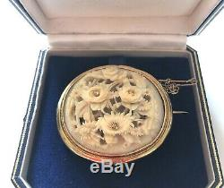 Victorian 9ct Gold Canton Chinese Carved Peony & Chrysanthemum Brooch & Case