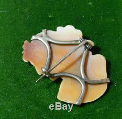 Victorian 9ct Gold Carved Cameo Shell Silhouette Woman Grapes Brooch Pin 10j 118
