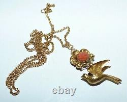 Victorian 9ct Gold Carved Coral Rose & Bird Pendant Ornate Beautiful Pendant