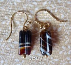 Victorian 9ct Gold Scottish Carved Agate Drop Earrings