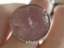 Victorian 9ct rose gold carved dog head/ wolfs head intaglio ring