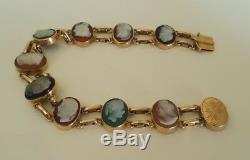 Victorian 9ct solid rose gold hand carved cameo bracelet 16.5g