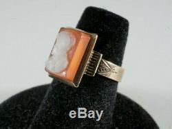 Victorian 9k Rose Gold Carved Hardstone Cameo Ring Size 6