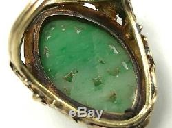 Victorian Antique 14K Gold, Carved Jadeite Jade & Seed Pearl Ring Size 5.75