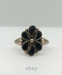 Victorian Antique 9k Yellow Gold & Carved Black Onyx Flower Mourning Ring