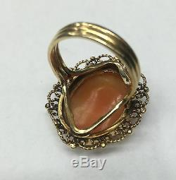 Victorian Antique Filigree 14K Gold Hand Carved Shell Cameo Ring Size 7