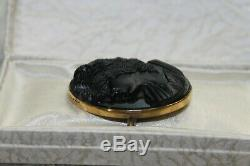 Victorian Antique Gold deep carve jet portrait grape cameo mourning C pin brooch