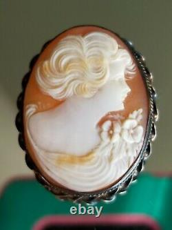 Victorian Antique Hand Carved Natural Angel Coral 10k Yellow Gold Large Brooch