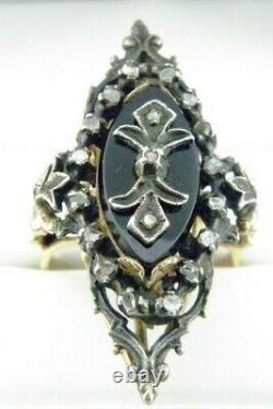 Victorian Black Onyx Carved & Rose Cut Diamond Ring 14k Y/Gold Sz 9.75 Antique