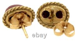 Victorian C 1890s 14K 585 Yellow Gold Pink Rhodonite Carved Stud Oval Earrings