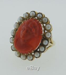 Victorian C. 1900 Antique Carved Coral Pearl Portrait Oval Ring 14k Yellow Gold
