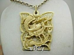 Victorian Canton Carved Dragon Pendant & 9ct Gold Chain