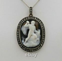 Victorian Carved Agate Cameo of Zeus with Diamonds in 18K Gold Pendant
