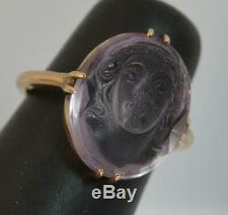 Victorian Carved Amethyst Cameo and 9ct Rose Gold Solitaire Ring d0367
