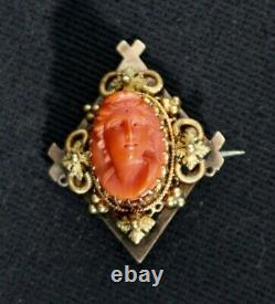 Victorian Carved Angel Hair Coral Brooch on an Elaborate 14K Gold Setting