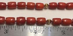 Victorian Carved Antique Oxblood Red Coral 14k Gold Clasp Necklace 30.6 Gram 18