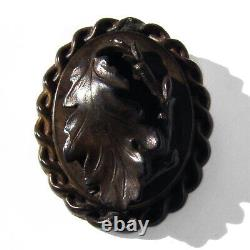 Victorian Carved Bog Oak Leaf Cameo Brooch 14K Gold