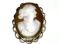 Victorian Carved Cameo Brooch Pin 9ct Gold c1880s Quite Impressive Antique