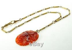Victorian Carved Carnelian Gold Filled Chain Necklace Dog Clips