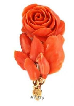 Victorian Carved Coral 3D Rose Sprig 18k Yellow Gold Pin LIQUIDATION