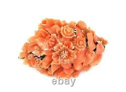 Victorian Carved Coral Cluster Roses 14k Yellow Gold Pin LIQUIDATION