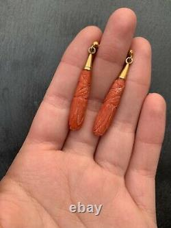 Victorian Carved Coral Rolled Gold Earrings